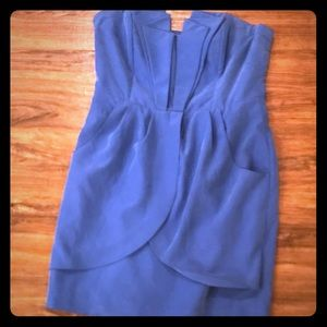 Blue faux suede dress with pockets